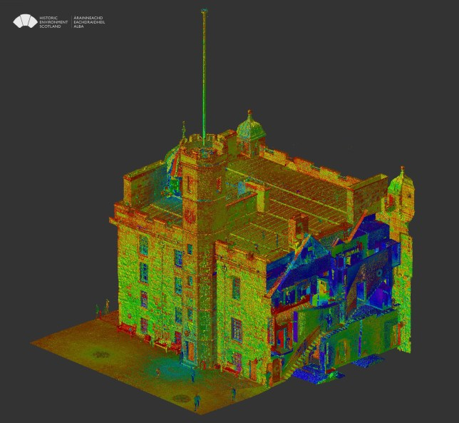 The Palace block at Edinburgh Castle. Screenshot of the point cloud in Recap.