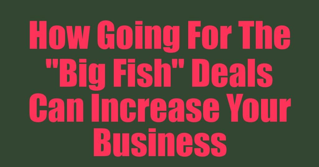 """How Going For The """"Big Fish"""" Deals Can Increase Your Business"""