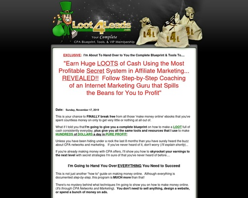 Original* Loot4leads – Your Cpa Marketing Package On Steriods!