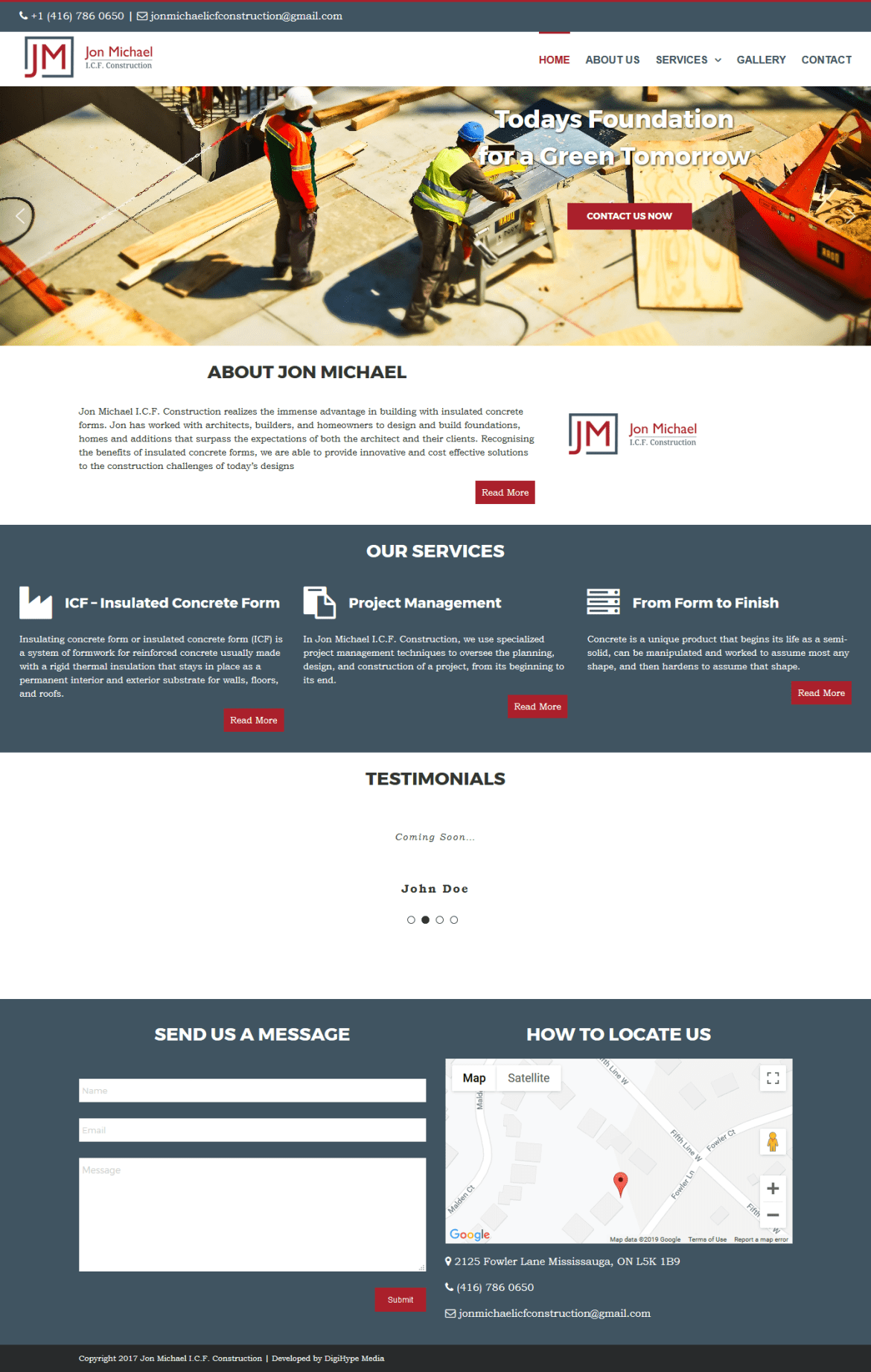Commercial & Residential Construction and renovation (website design mockup)