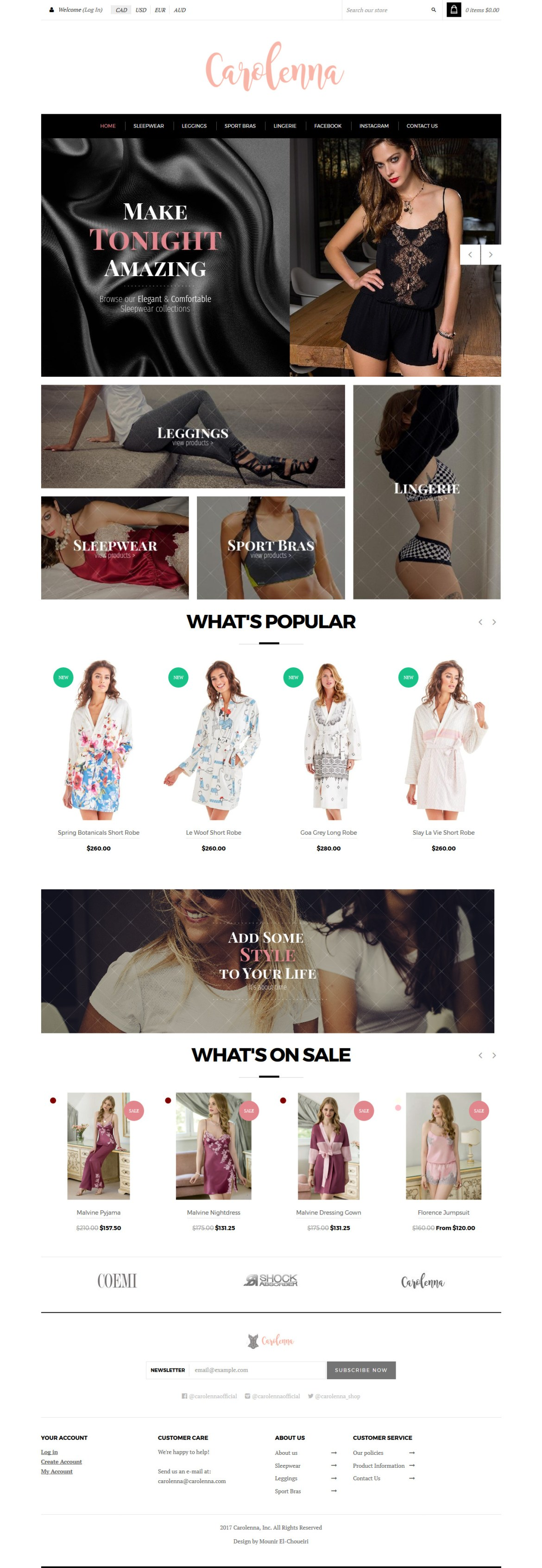 Women's online clothing store (website design & UX design mockup)