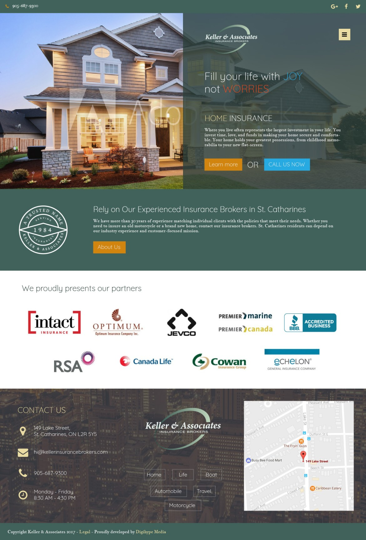 Home, Life and Car Insurance company Niagara Falls (Website design mockup)