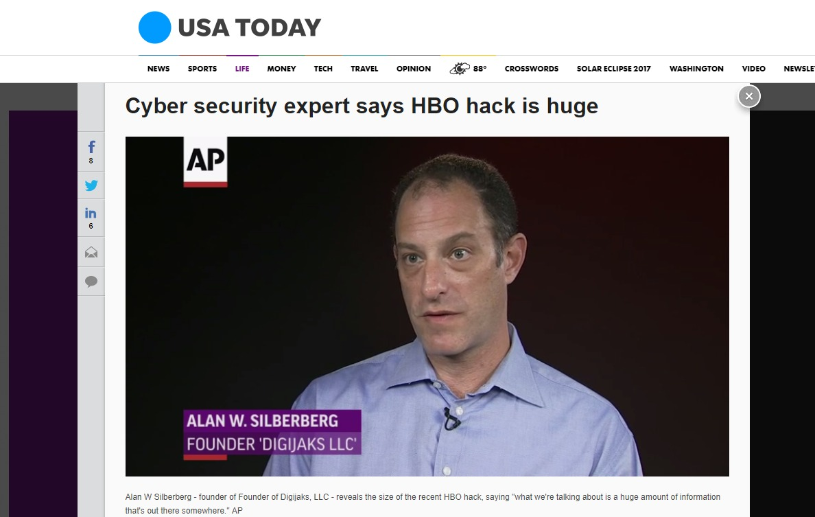 Digijaks CEO Alan W. Silberberg Interviewed by Associated Press about HBO Hack
