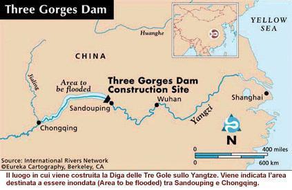 Posizione della diga delle Tre Gole