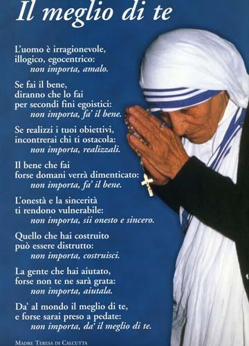 Auguri Matrimonio Madre Teresa : Madre teresa figli della luce