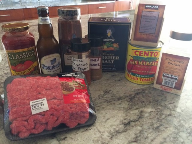 Ingredients for chili.