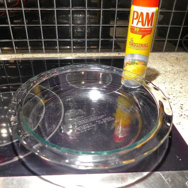 Use a pie pan sprayed with non-stick cooking spray or rub with olive oil.