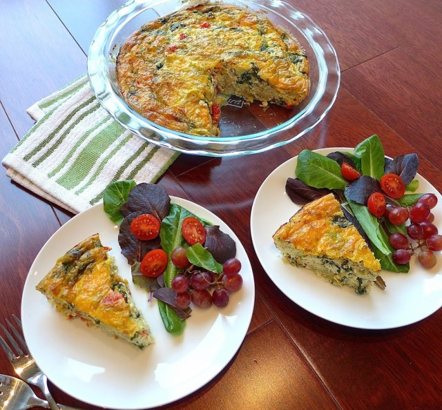 Serve greek frittata with salad and fresh fruit for a delicious lunch or light dinner.