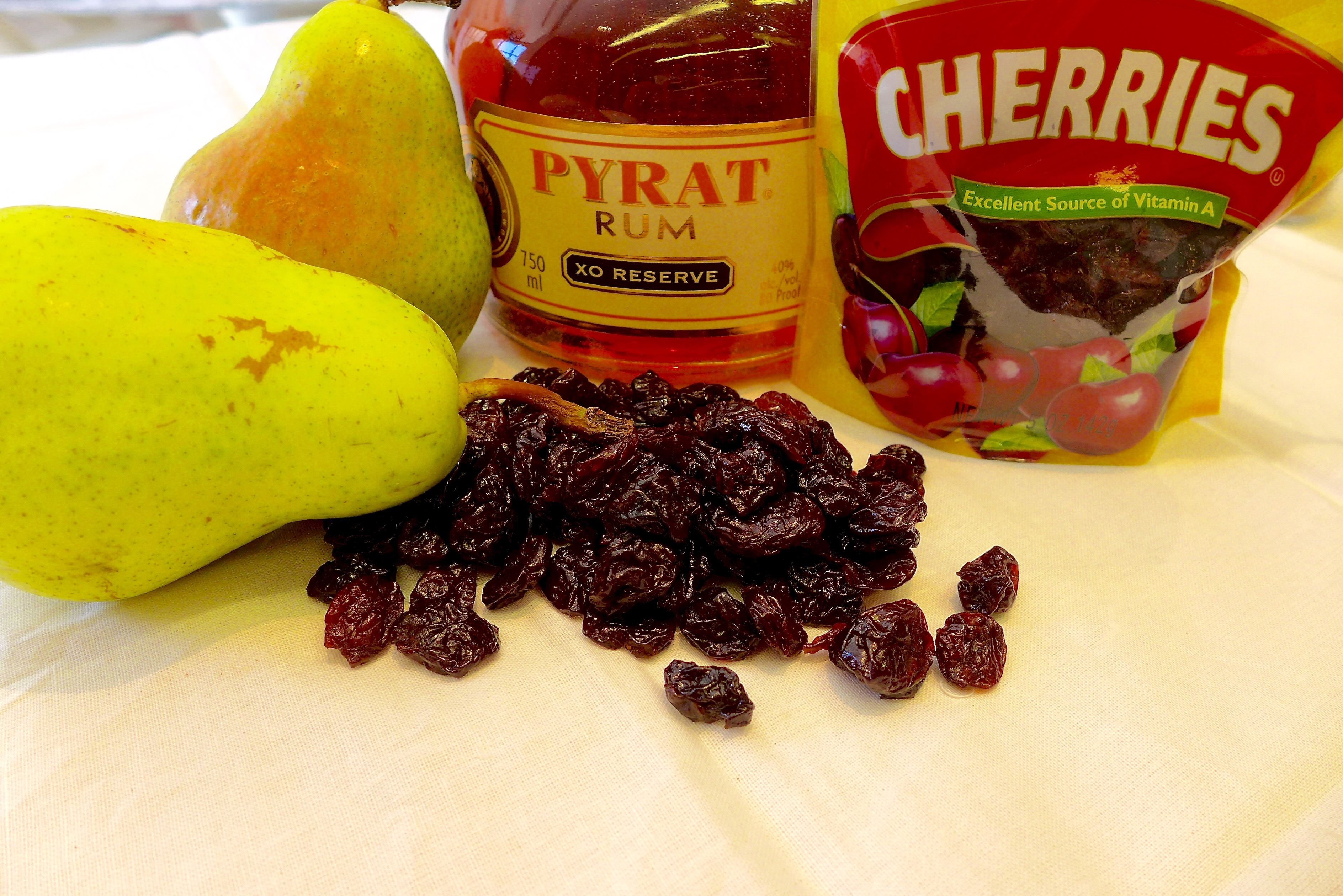 Pears, Dried Cherries and Rum