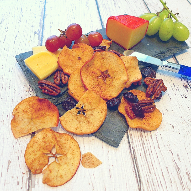 Baked Apple Chips dress up any occasion, from a simple cheese plate to a dish of ice-cream.