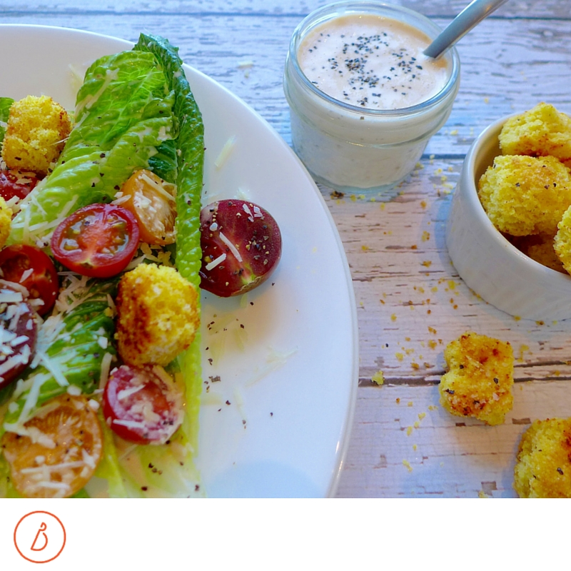 Caesar Salad with Cornbread croutons makes a great new tradition for your holidays!