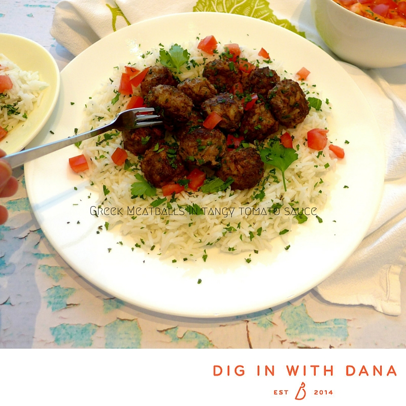 Greek Meatballs in tangy tomato sauce.