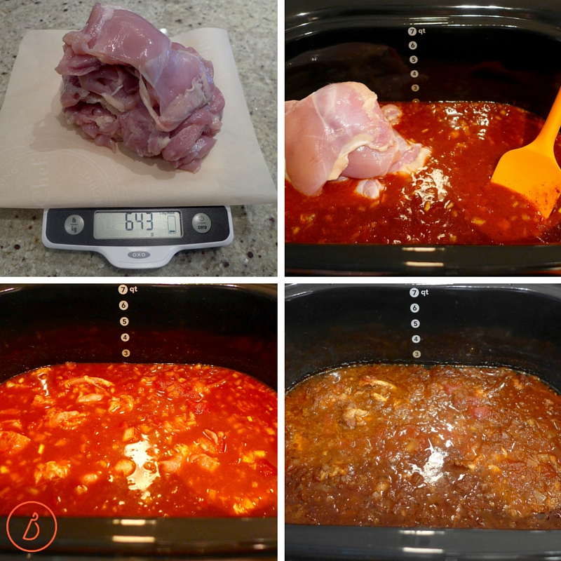 Add chicken to slow cooker, cover and cook.