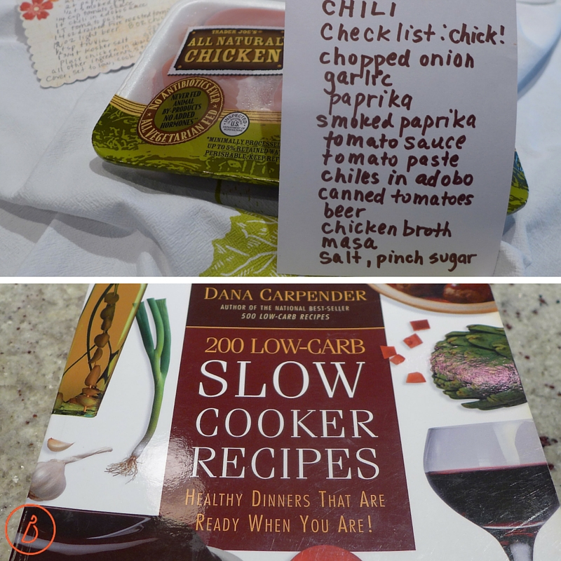 Checklist and inspiration for slow cooked chicken chili.