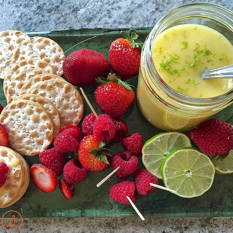 Lime curd, fruit and crackers