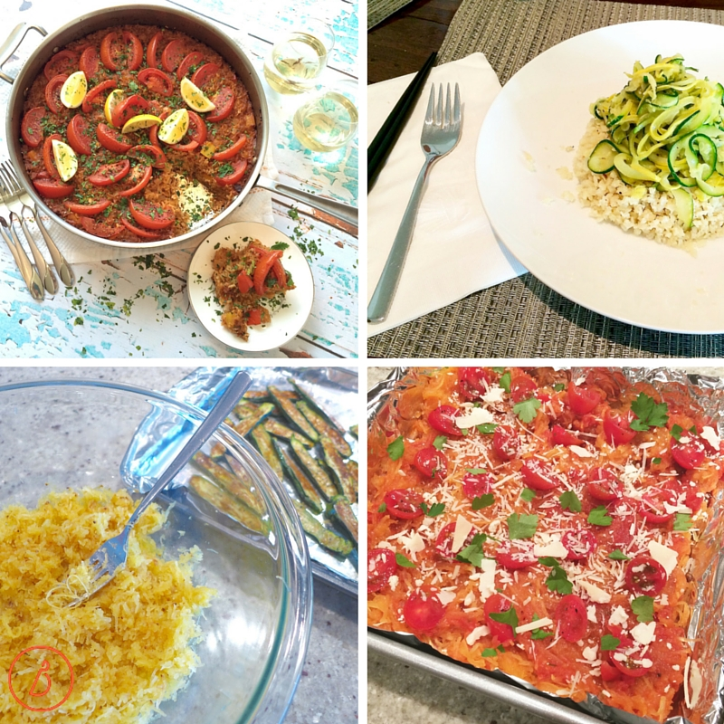 Simple dinners with vegetables, grains and sauce or cheese
