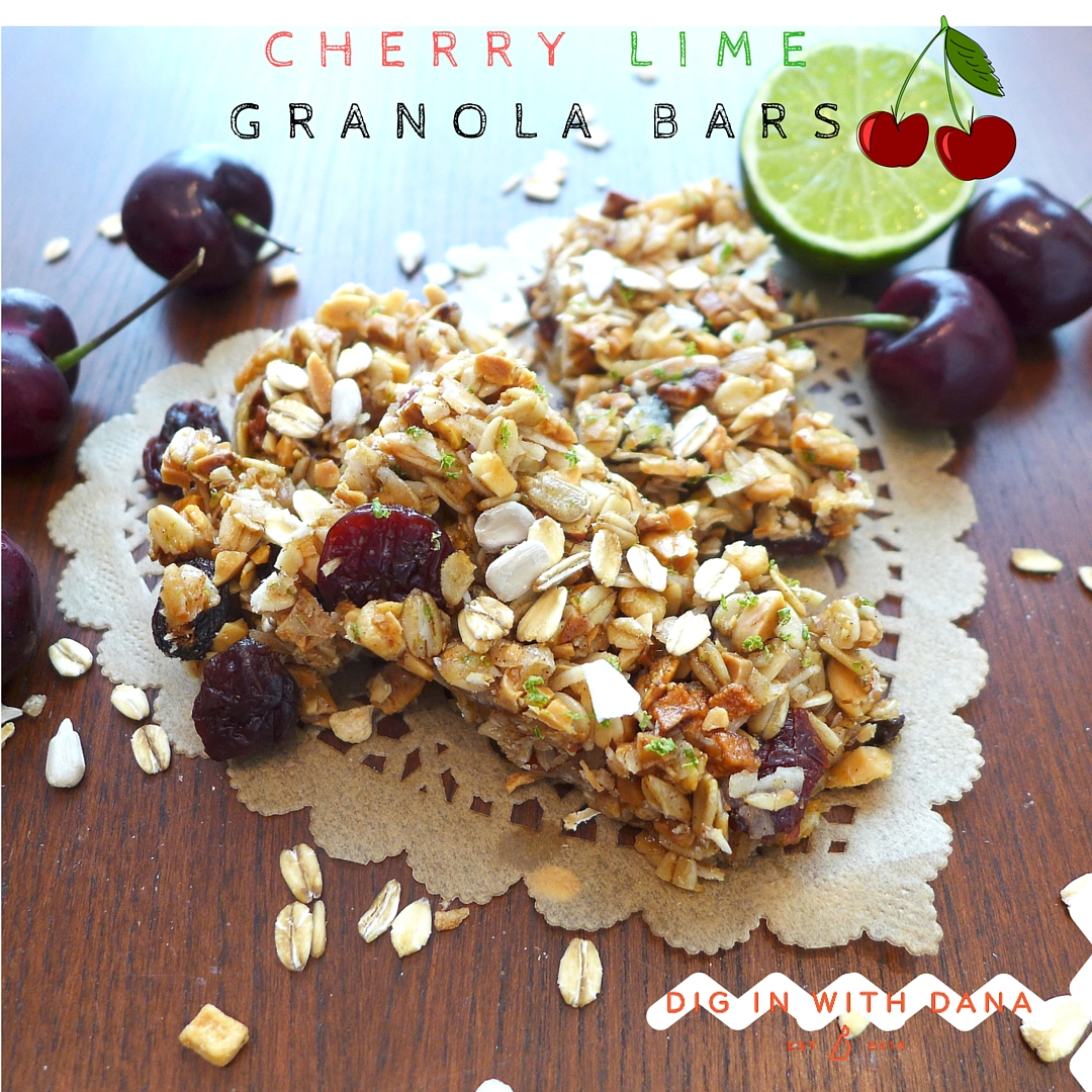 DIY Cherry Lime Granola Bars, recipe and helpful photos at diginwithdana.com