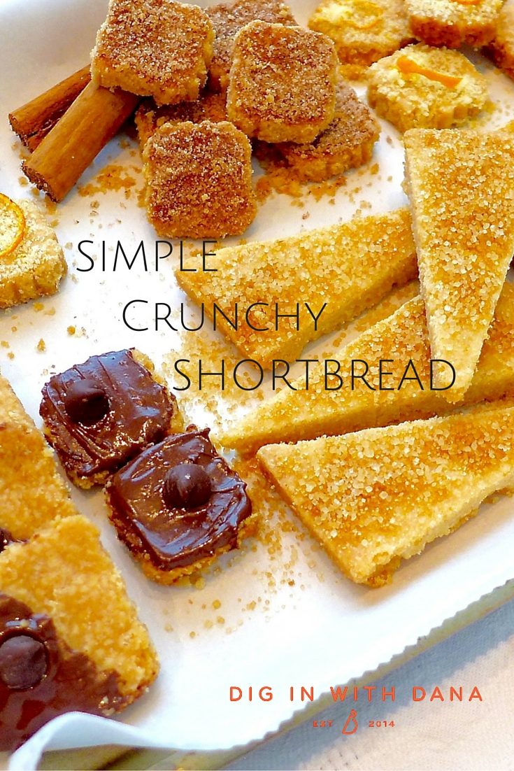 Simple Crunchy Shortbread is an easy six ingredient, twice baked cookie you can flavor and shape any way you wish. Easy recipe and helpful photos at diginwithdana.com