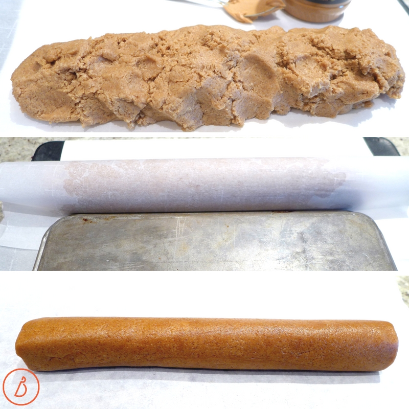 Roll nutty butter cookie dough into logs and freeze 20 minutes before slicing. Recipe and photos at diginwithdana.com