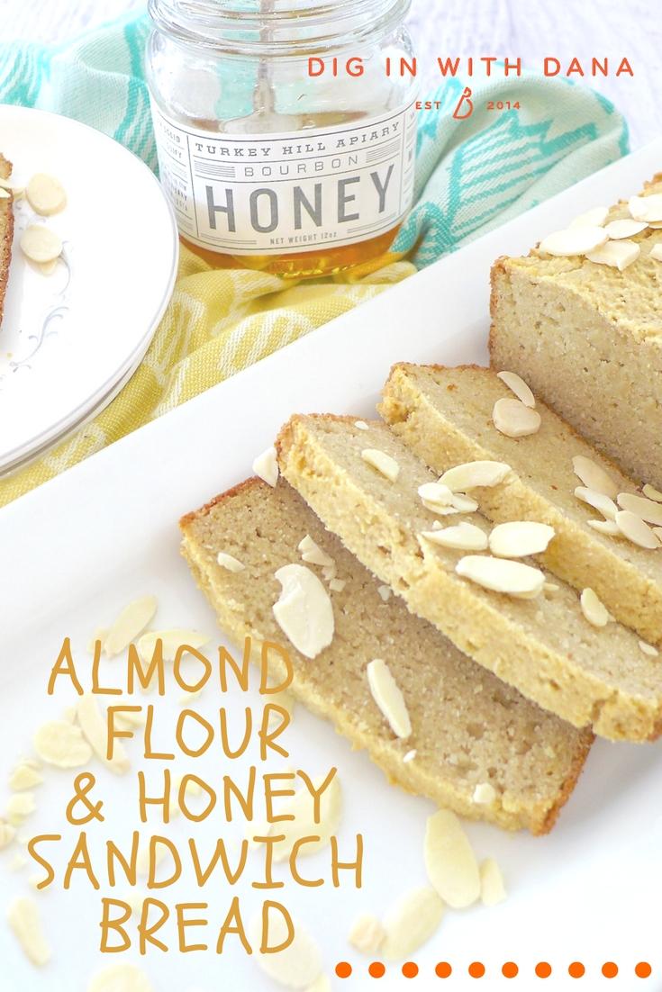 Almond Flour and Honey Sandwich Bread ( GF and Paleo) Recipe and helpful tips at diginwithdana.com