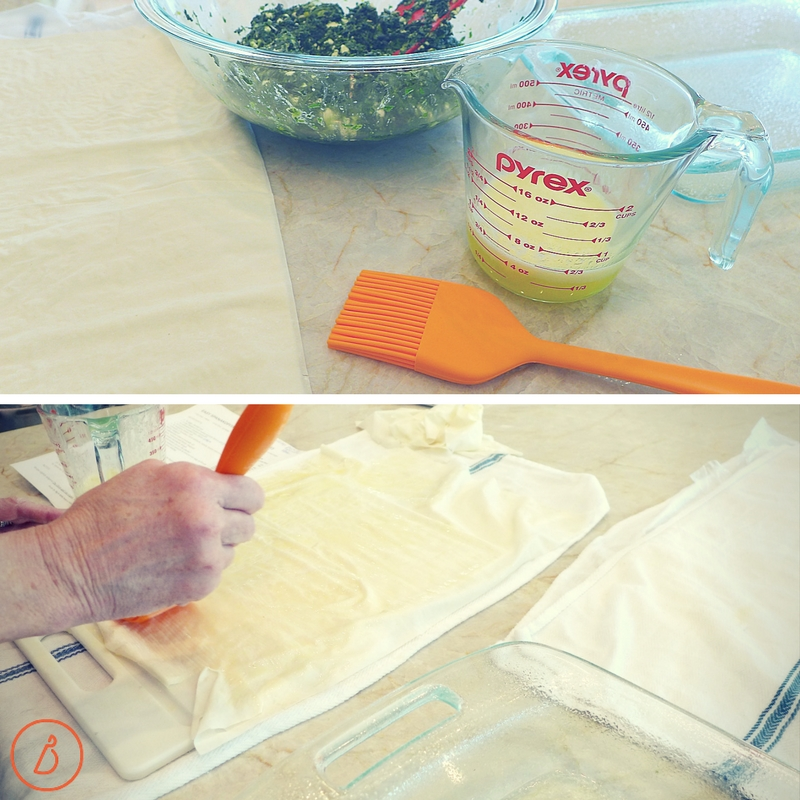 Assembling easy spanakopita. Recipe and helpful photos at diginwithdana.com