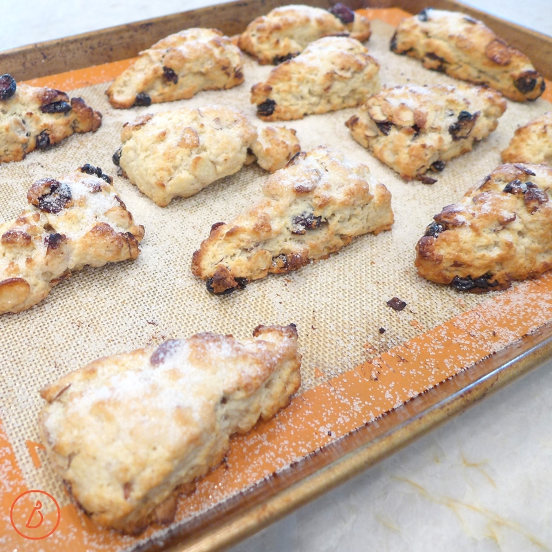 Old fashioned Almond Cherry Scones fresh from the oven. Recipe and helpful photos at diginwithdana.com
