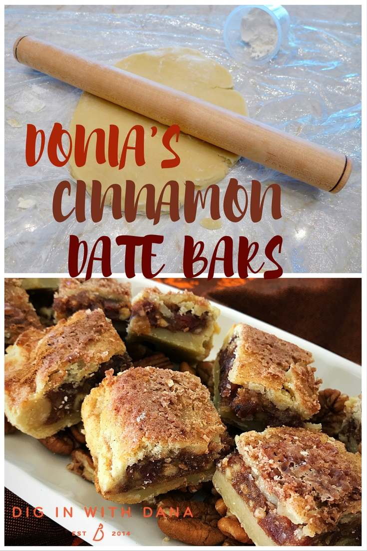 Donia's Cinnamon Date Bar recipe and gluten free variation at diginwithdana.com