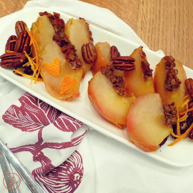 Serving suggestion for date nut stuffed baked apples. Recipes and variations at diginwithdana.com