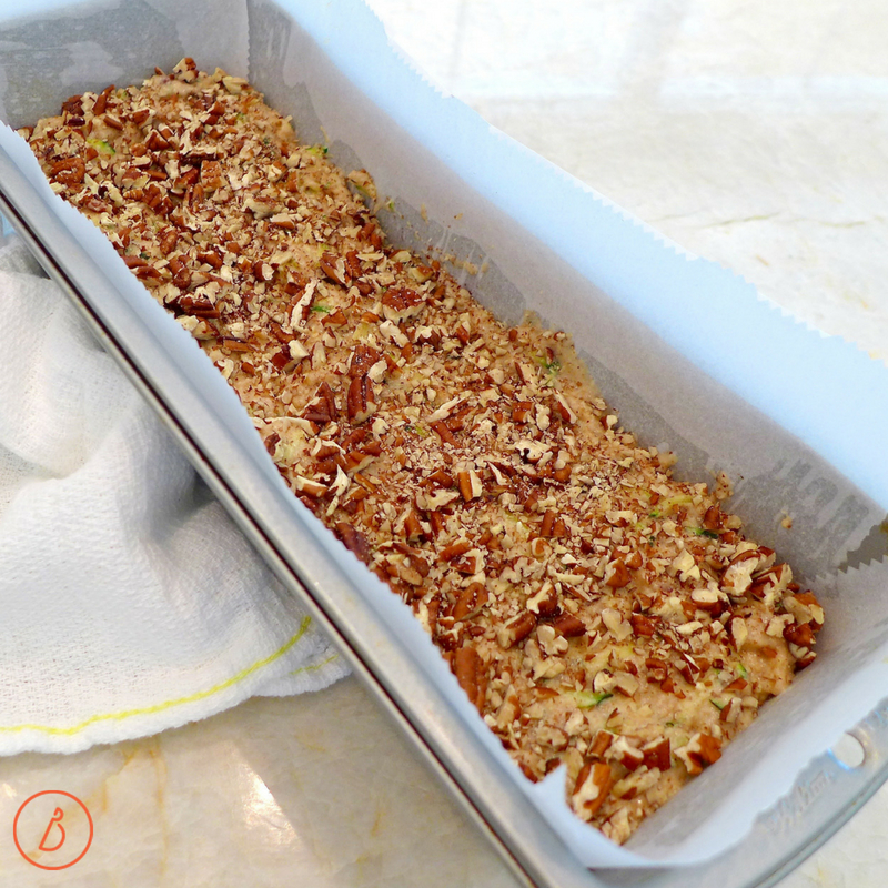 A long narrow loaf pan makes the prettiest zucchini Pecan Quick Bread. Recipe and ideas at diginwithdana.com