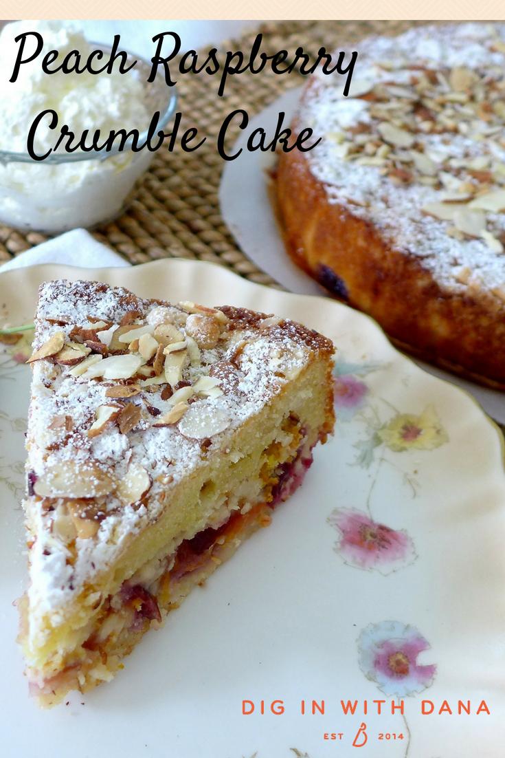 Dig in to Peach raspberry Crumb Cake at diginwithdana.com