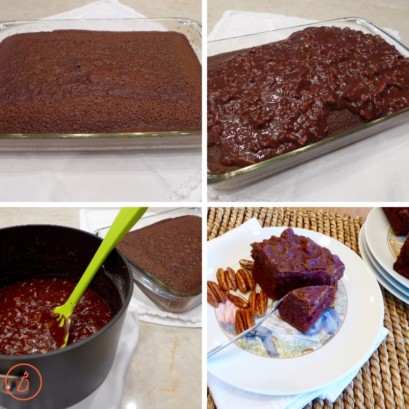 Texas Pecan Sheet Cake- EASY recipe at diginwithdana.com