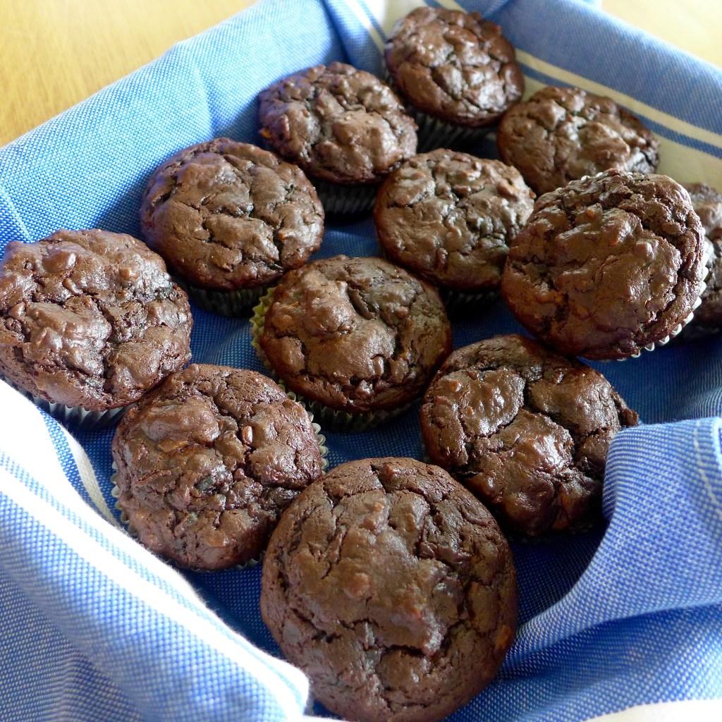 Grain free Double Chocolate Zucchini Muffins at diginwithdana.com