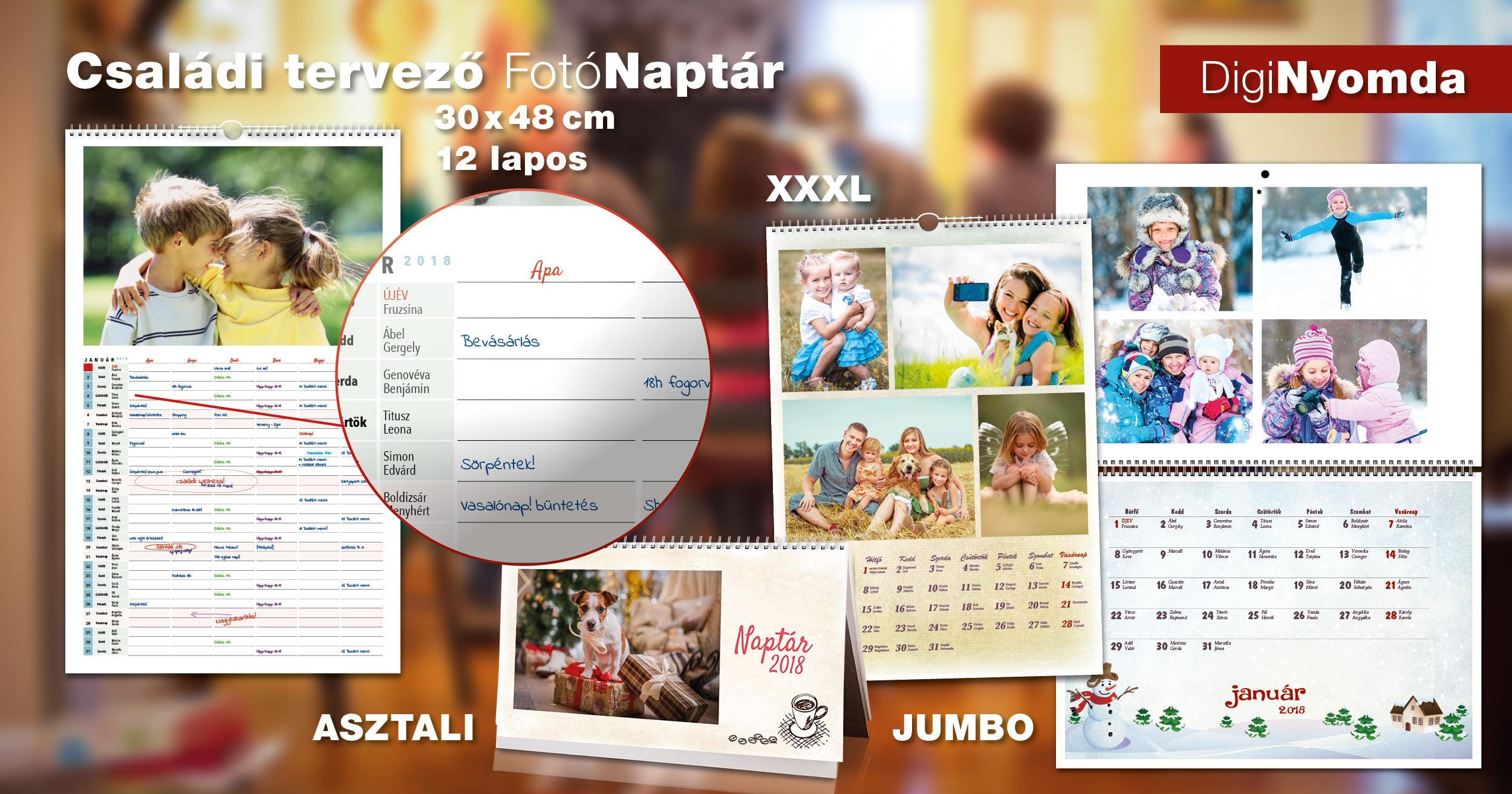 DigiNyomda 2018-as fotó naptár termékek