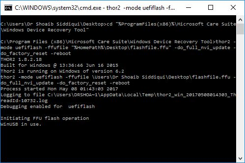 How to flash/reset a Lumia (WP) phone using Command Prompt in Windows?