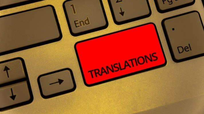 keyboard with a key saying translations