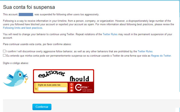 Conta suspensa no Twitter