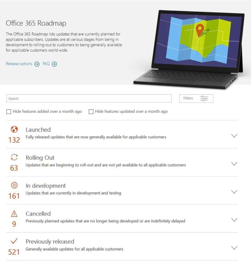 Microsoft Office 365 Roadmap im Web