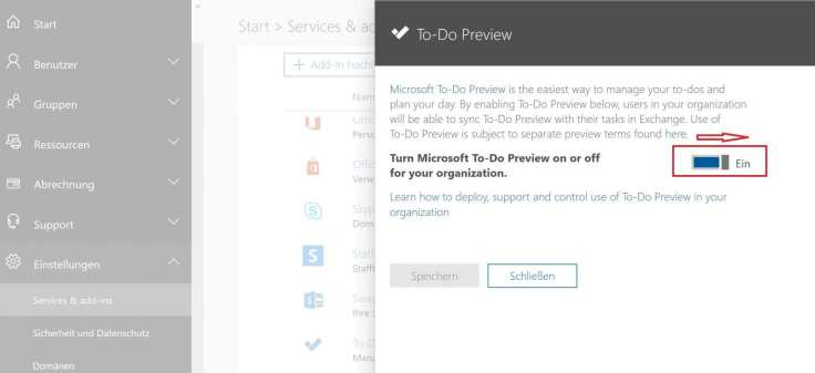 Aktivering der Microsoft To-Do App im Office 365 Admin center