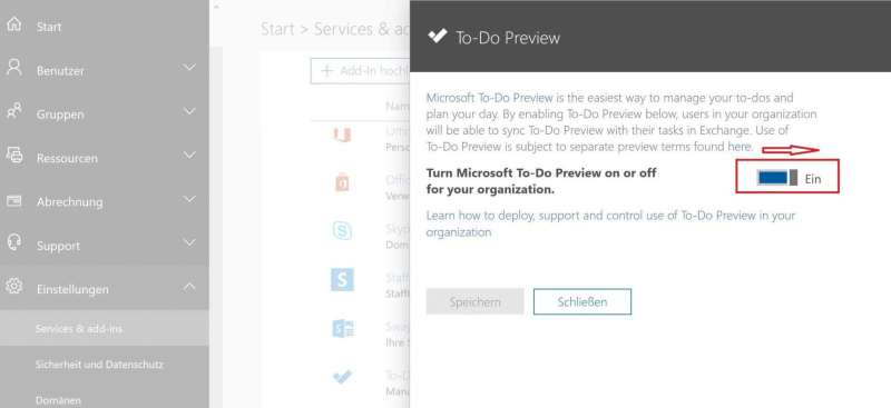 Aktivering der Microsoft To-Do App im Office 365 Admin center
