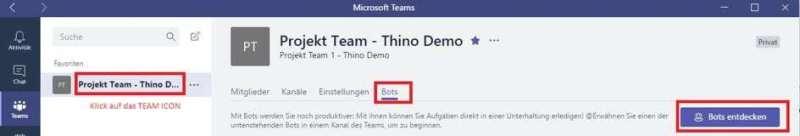 Microsoft Office 365 Teams ChatBot Anbieter hinzufügen