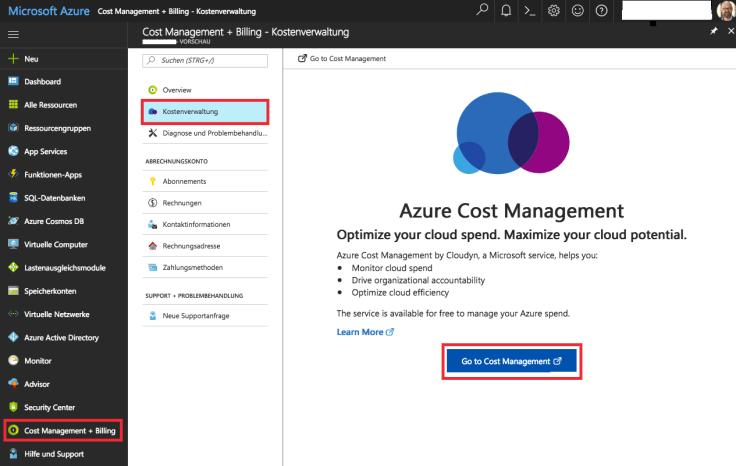 Einrichtung Azure cost management mit Cloudyn