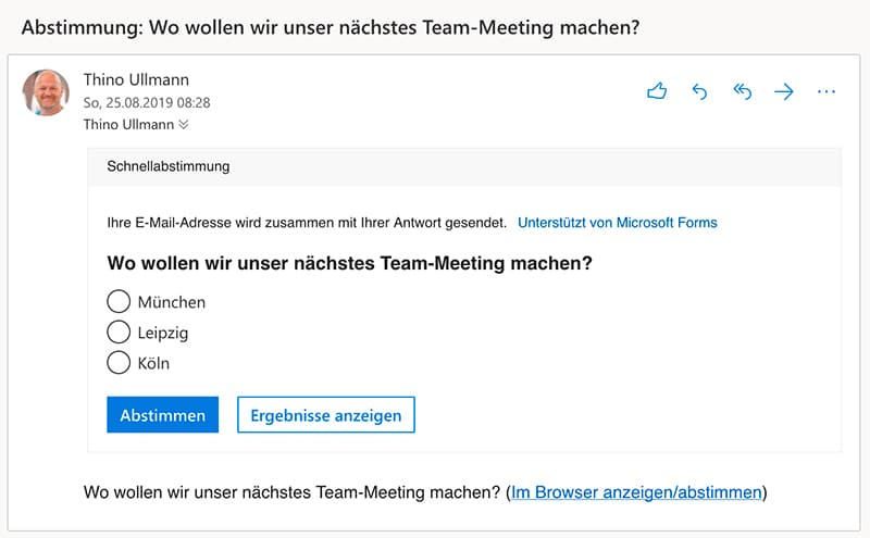 Beispiel für die Nutzung des Umfrage Tools Quick Poll Add-In innerhalb einer E-Mail in Outlook. An einer Umfrage teilnehmen, die man mittels E-Mail bekommen hat.