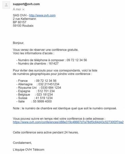 Information sur la réservation téléphonique par email - Visioconférence