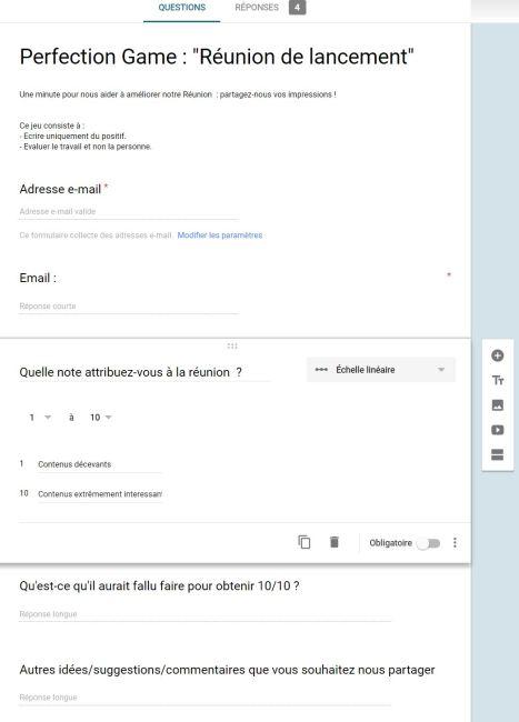 Réunions productives et Google Forms