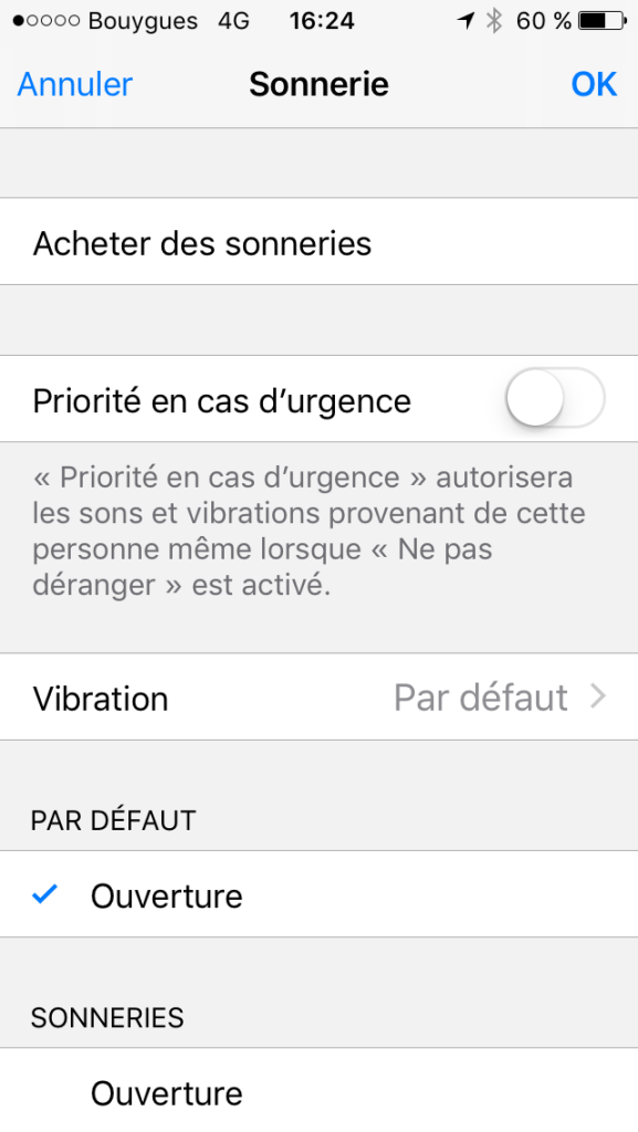 Notifications dans menu contact avec un Iphone