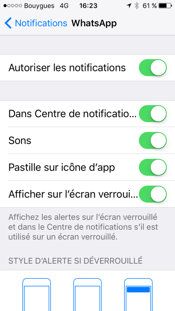 Réglage des notifications dans une application WhatsApp avec un Iphone