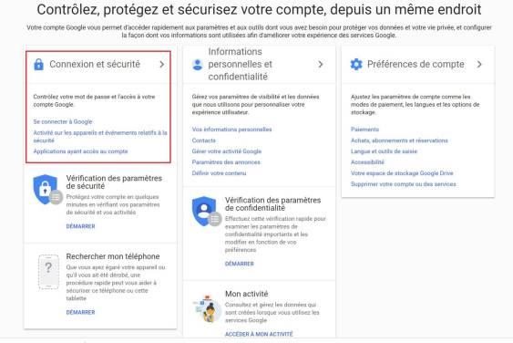 Sécuriser vos comptes Google