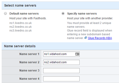 Updating name servers at Fasthosts