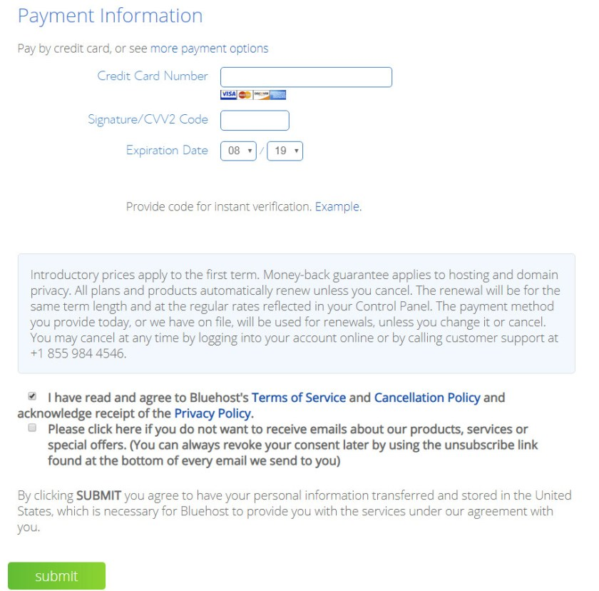 Screenshot of Bluehost's payment information page