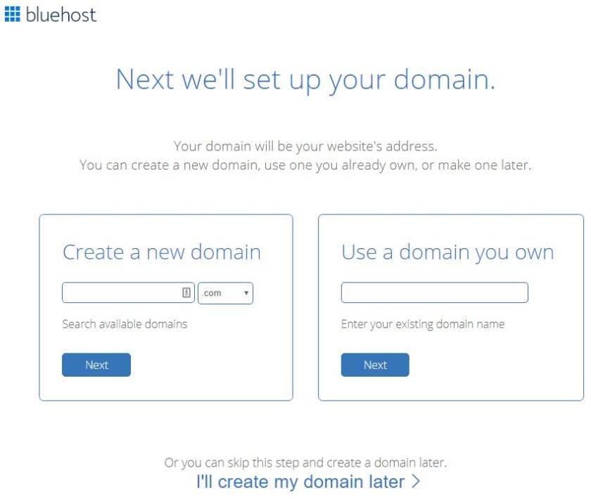 Screenshot of Bluehost's domain registration screen